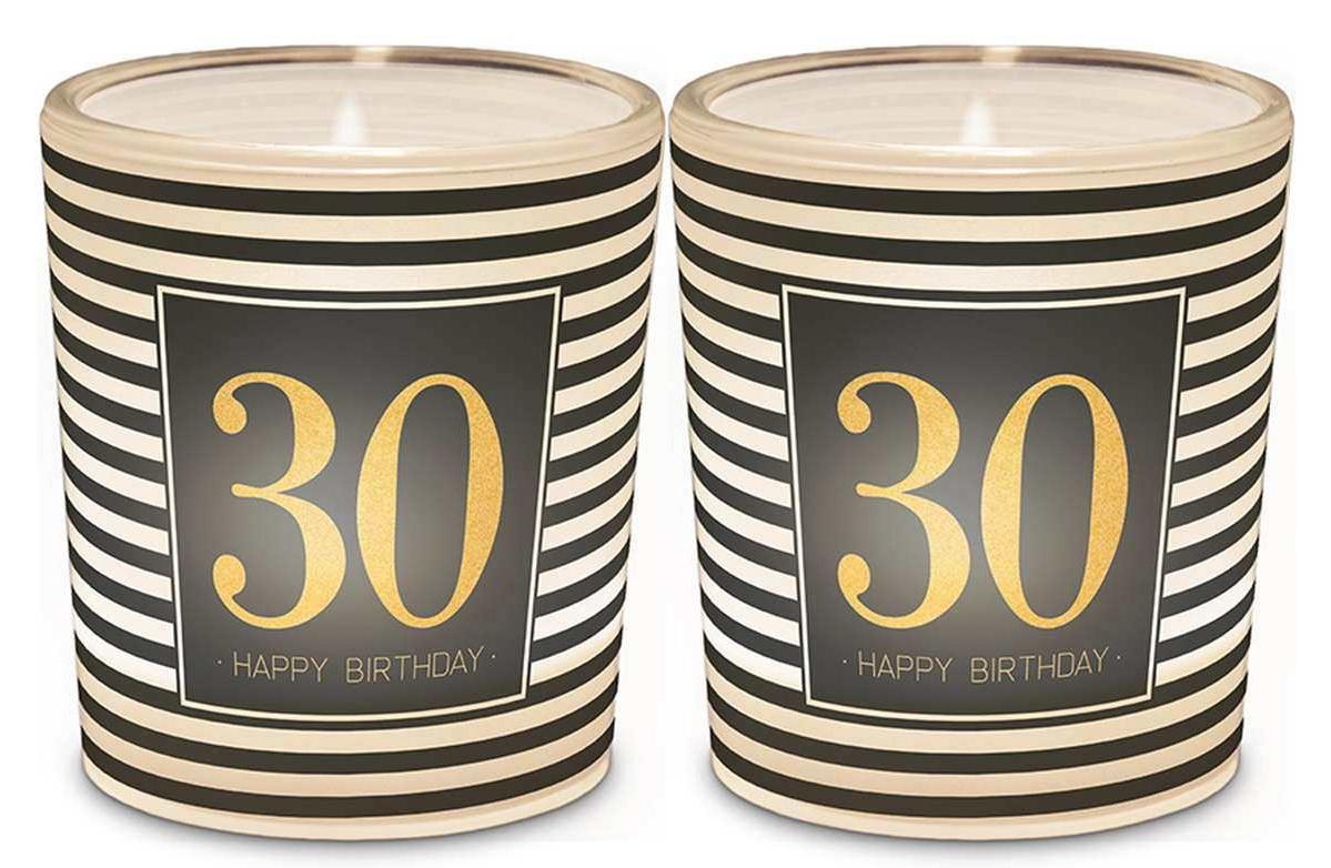 120042 Licht Für Dich - Windlicht+Teelicht zum 30. Geburtstag 6x6cm