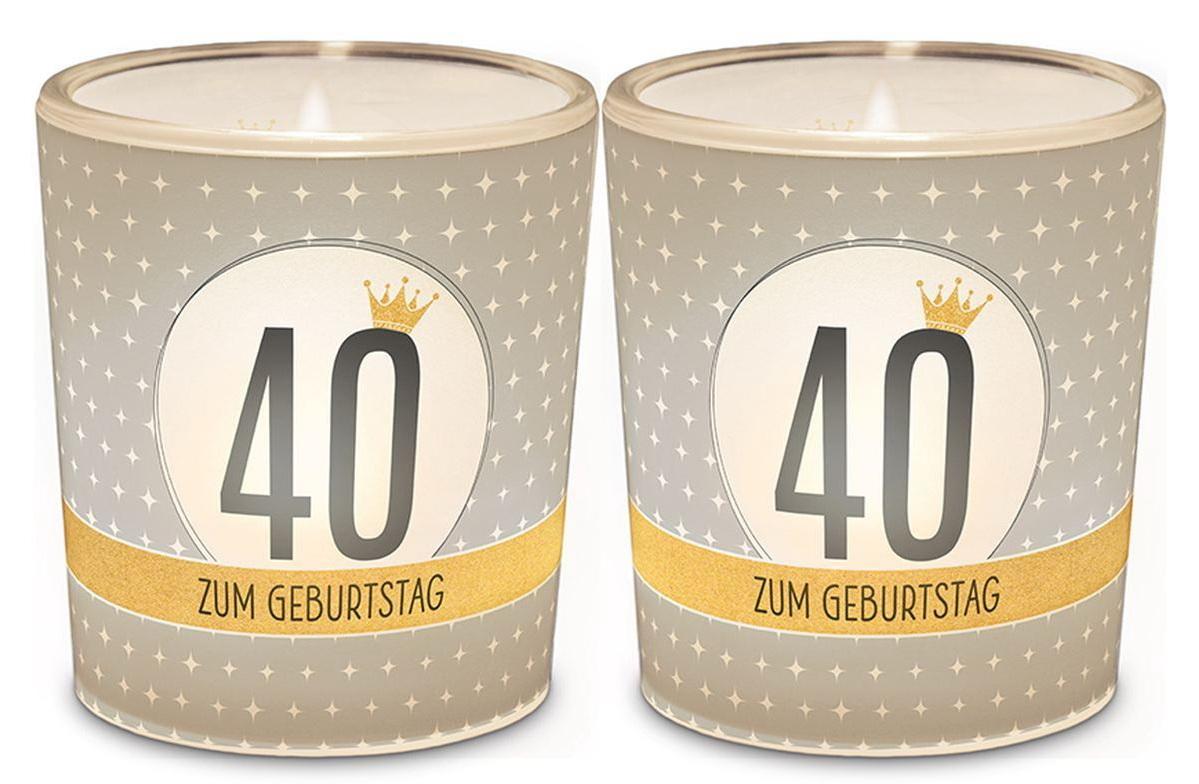 120043 Licht Für Dich - Windlicht+Teelicht zum 40. Geburtstag 6x6cm