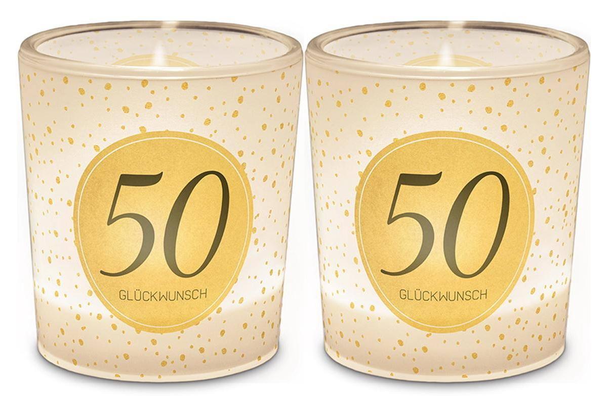 120044 Licht Für Dich - Windlicht+Teelicht zum 50. Geburtstag 6x6cm
