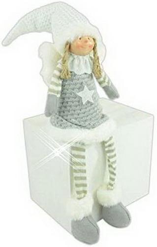 260002 Weihnachts Engel Kantensitzer aus Stoff grau-weiß