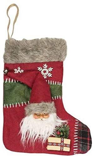 260026 Deko Socke Nikolaus mit Santa Kopf 40cm