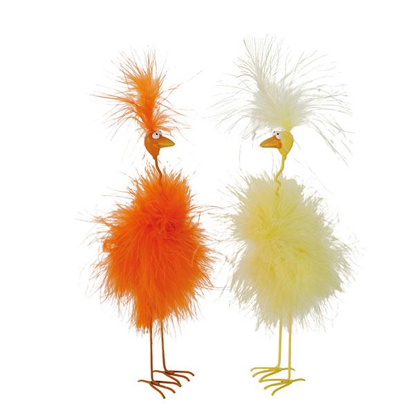 260253 Vogel Jeffy 22cm Farbmix klein mit Federn
